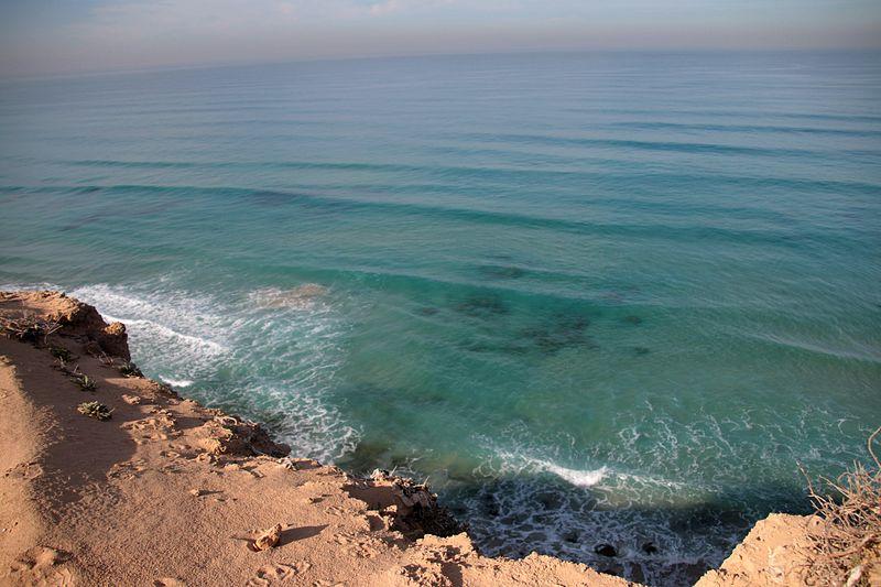 The kurkar ridge of the cliff shore